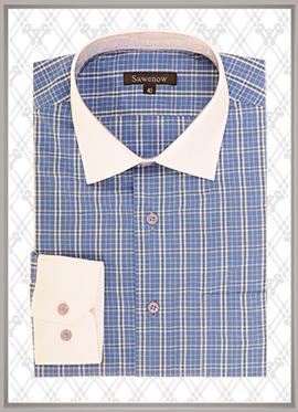 蓝色格纹衬衫SWN84313
